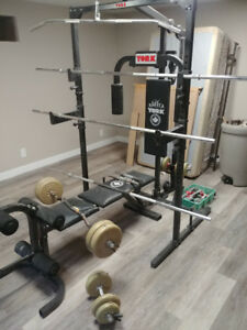 CAGE MACHINE W/BARS & WEIGHTS