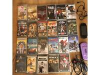 PSP slim console and games and films