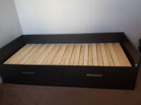 IKEA single bed w/ storage, turns into double bed with 2 mattresses