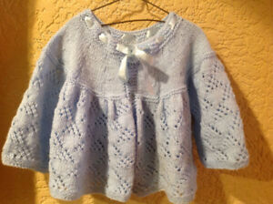Hand knit blue baby sweater