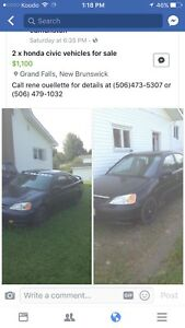 Two honda civic for sale