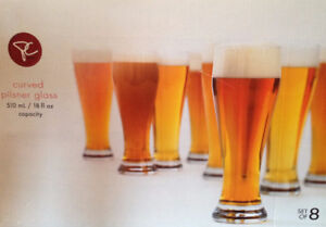 Curved Pilsner Glass, Set of 8, Almost NEW (just opened)