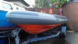 Avon 5.4 mt rib on Hallmark roller trailer