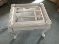 Chunky Shabby Chic Coffee Table with glass top painted in Annie Sloan's Duck Egg Blue Chalk Paint