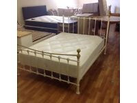 CREAM METAL DOUBLE BED WITH ORTHO MATTRESS