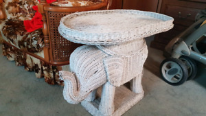 Vintage Wicker Elephant Side Table