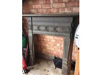Antique Original Cast Iron Fireplace Surround