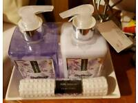 Lavender Pure Passion Hand Soap & Lotion Set in a cute little tray & hand towel