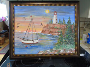 ISLAND PAINTING, SAIL BOAT, LIGHT HOUSE ON CLIFF