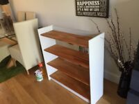 solid pine, painted (very pale grey) open bookcase