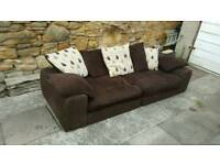 Brown sofa settee couch 4 seater not leather vgc