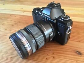 Olympus OM-D E-M5 Digital SLR Camera. Black with 12-50mm Lens. + Extras