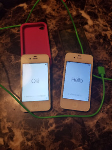2 x Iphone 4S - 16gb and 8gb - charger and cases - phone or ipod