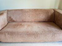 Ikea Two Seater Sofa in Light Brown Corduroy
