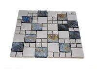 Mosaic Tile, Petrol coloured glass with Chrome Mirror pieces, Random