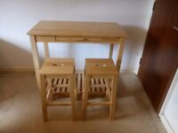 Oak Breakfast Bar Table and Stools Set | Wooden Kitchen Dining Table & 2 Seats