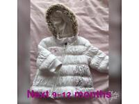 Gorgeous baby girl next coat 9-12 months worn twice
