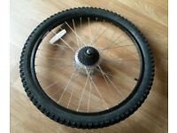 Bicycle Rear Wheel with brake disc and tyre 26x2.1