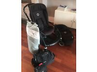 Stylish Bugaboo Bee 3, all black chassis, bassinet, high performance foot muff, silver sun canopy