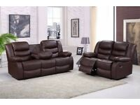 EVANGELENE 3&2 LUXURY BONDED LEATHER RECLINER SOFA SET WITH DRINK HOLDER - *** FREE DELIVERY ***