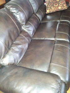 Genuine leather reclining couch
