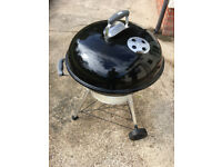 Webber 57cm kettle BBQ with wood chips and bbq utensils