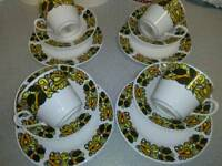 VINTAGE, RETRO 12PC TEA SET FROM THE 1970,S IN PURE BONE CHINA