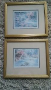 2 matted framed watercolours