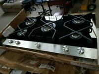 Brand New Built In Amica A+ Class Black Glass 5 Burners Gas Hobs