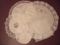 VINTAGE DOILIES-Job lot 6 (or 5 + 1 handkerchief?) very slightly in-need- of- repair.£9 ovno the lo