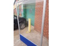 Large floor stand clear perspex Office divider with Blue strip, 120cms by 181cms