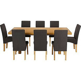 Cosgrove Ext Oak Stain Dining Table-8 Black Chairs.