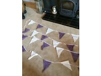 Ivory and purple bunting