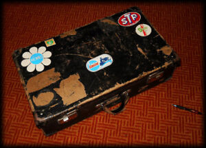 Vintage Suitcase with some Vintage Advertising Stickers