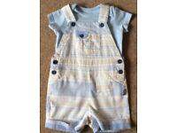 Baby Boy TU Short Dungarees & TShirt 0 - 3 Months - £2
