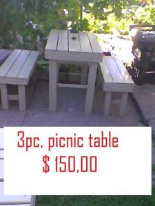 rustic 3  pc. picnic table furniture $ 150,00