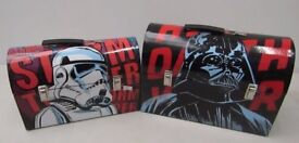 STAR WARS DARTH VADER & STORM TROOPER LUNCH BOXES, CASES. PAIR. x 2 BOXES.
