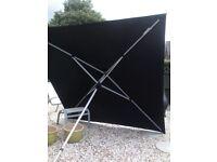 Very large black garden parasol