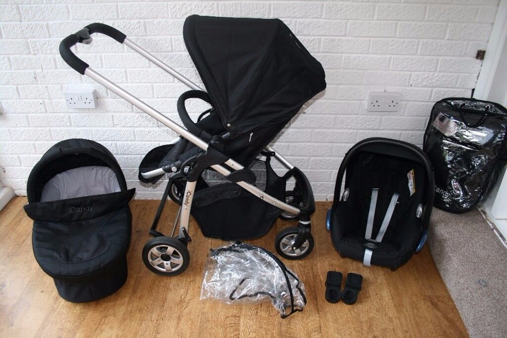 Black iCandy Cherry pram pushchair with car seat travel system 3 in