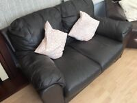 Chocolate leather sofa - ideal if space is limited