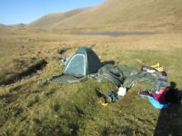Camping gear: two tents and trangia spirits