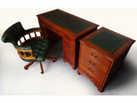 Antique Style Pedestal Office Desk, Filing Cabinet & Chesterfield Captains Chair