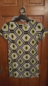 Womens Lime Green Patterned dress UK size 8-10