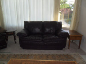 Unique Leather Loveseat & Rocker Recliner, Awesome with Grey