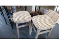 VINTAGE Stools, painted and recovered