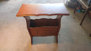Antique wooden side table with storage