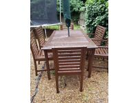 Garden wooden table & 6 chairs