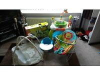 baby bouncer, chair, activity centre, playmat, baby walker, bath seat and bumbo seat