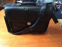 "Dell Black Leather Briefcase 14"" Laptop Computer Carrying Messenger Bag Case"