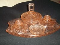 1940s pink glass dressing table set